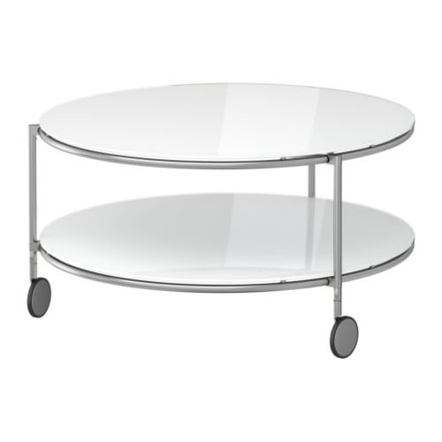 IKEA(イケア) STRIND ホワイト/ニッケルメッキ 75 cm 70167652 コーヒーテーブル、ホワイト、ニッケルメッキ
