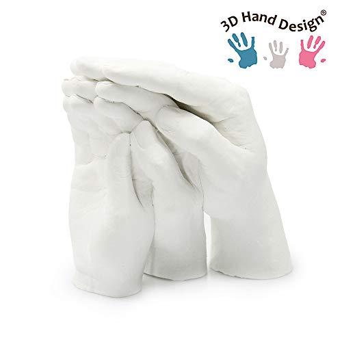 Lucky Hands Family Abformset Trio+ | 3D Familien Handabdruck DIY Set für 3-4 Erwachsenenhände| Gipsabdruck Familie | Auch für Kinder und Jugendliche (ohne Schiefersockel)