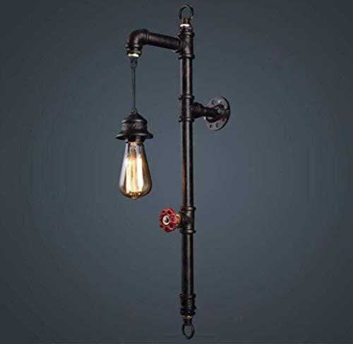 MGWA Luces de Pared Lámpara De Pared De Estilo Rústico Vintage Lámpara De Pared De Tubería De Agua Steampunk Creative Design Industrielook, Negro, A