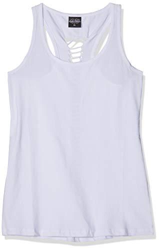 Urban Classics Ladies Cutted Back Tanktop Camiseta Deportiva de Tirantes, Blanco (White 00220), Large para Mujer