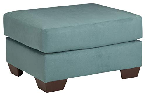 Signature Design by Ashley - Darcy Contemporary Ultra Soft Upholstery Ottoman, Sky