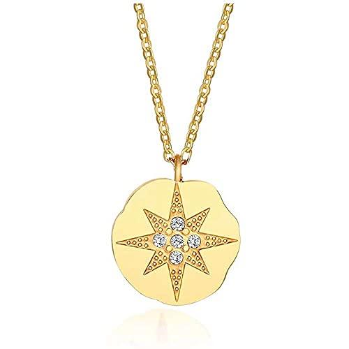 chaosong shop Delicado chapado en oro de acero inoxidable brújula moneda en capas ec para las mujeres niñas amistad distancia relación ec para BFF