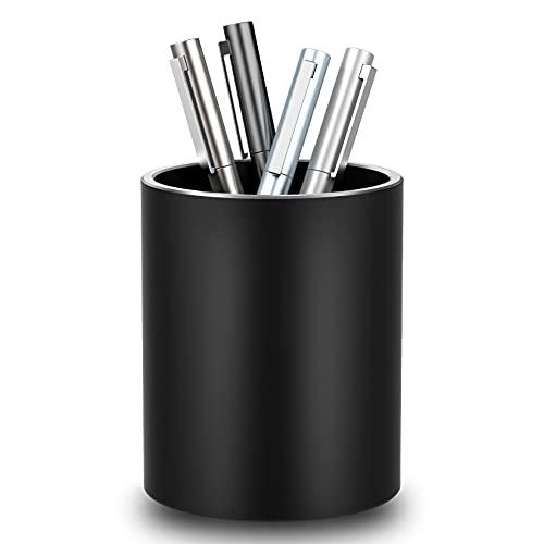 Portapenne in metallo, portapenne da scrivania rotondo portapenne design in lega di alluminio, portapenne da scrivania bambini per ufficio, scuola e casa(nero)