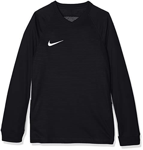 Nike Kinder Tiempo Premier Football Jersey Long Sleeved T-shirt, Schwarz (Black/White 010), L