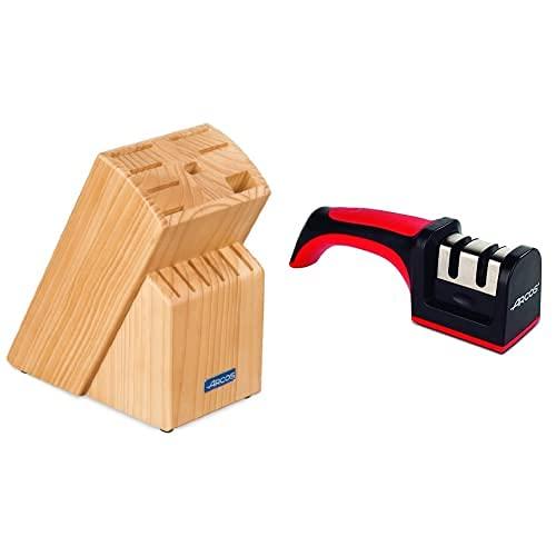 Arcos 793600 - Taco universal + Afiladores, Afilador de Cuchillos de Mano, Hecho de ABS + TPE, Rodillos Cerámico y Carburo, Color Rojo y Negro