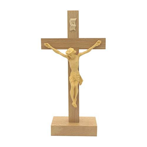 kruzifix24 Stehkreuz Standkreuz Buchenholz Natur mit Kunststoff Körper hell 20,5 x 10,5 cm Altarkreuz für Zuhause Pflegeheim Unterwegs - Sterbekreuz für Hospitz Handarbeit
