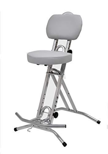 LIBEDOR Stehhilfe Stehhocker Stehsitz Sitz Stehstütze mit ergonomischer Sitz 6 cm dick im Silber bis130kg belastbar
