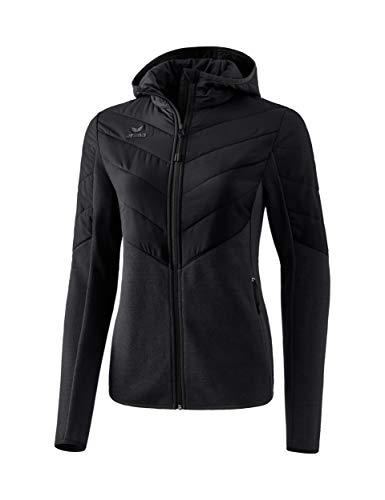 ERIMA Damen Jacke Stepp-/Strickjacke mit Kapuze, schwarz, 48, 2061909