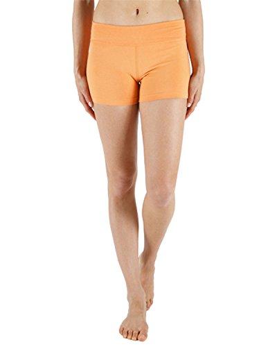 Chin Mudra Pantaloncini da Yoga 95% Cotone Biologico e 5% Lycra–Arancione, Arancione, XL