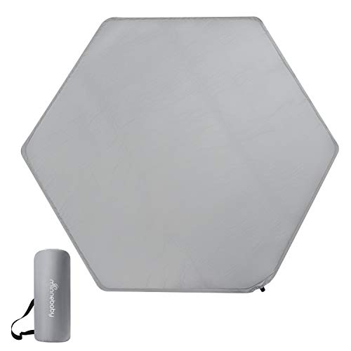 Minnebaby Hexagon Playpen Mattress Compatible with Regalo Play Yard, Self Inflating Playard Mattress Pad, Comfortable and Portable Mat with Carry Bag - Grey
