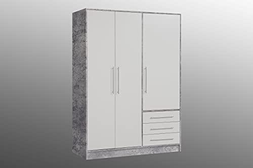 AVANTI TRENDSTORE - Felippo - Armadio ad ante battente con 3 ante e 3 cassetti. Disponibile in diversi colorazioi. Dimensioni LAP 145x200x60 cm. (cemento/bianco)