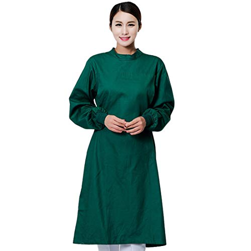 Oraunent Surgical Gown Scrub Gown Cotton Doctor Workwear Protective Workwear for Dentist Hospital Clinic A Dark Green(Women) M