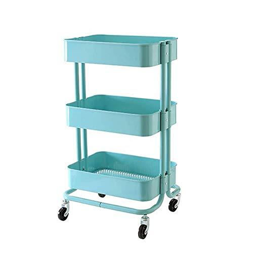 TROLLEOY Servierwagen-Wagen Blauer Schönheitssalon-Wagenwagen auf Rädern mit Tablett, Abnehmbare Bücherregal-Küchenablage für Zuhause (Size : 45 x 35 x 79cm)