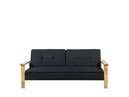 Beliani Sofa mit Schlaffunktion in Schwarz mit Polsterbezug modernes 3-Sitzer Schlafsofa Tjorn