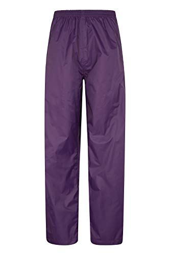 Mountain Warehouse Pakka Womens Waterproof Over Trousers - Packaway Bag, Breathable Rain Pants, Hook & Loop Ankle Opening Ladies Rainwear - for Travelling, Outdoor Purple 8