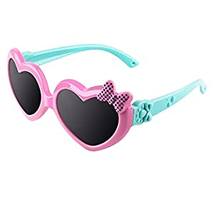 CGID gafas de sol polarizadas de goma suaves en forma de corazón con marco flexible 100% Protección UV400 para niños de 3-10 años, K78, Rosa Azul
