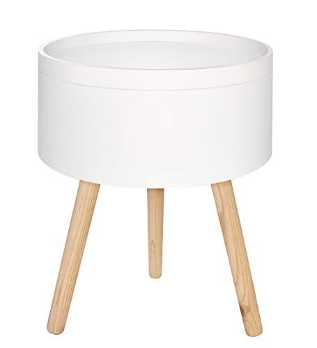 FTL - Mesa auxiliar redonda de madera para salón, moderna, escandinava, 38 x 47 cm, color blanco