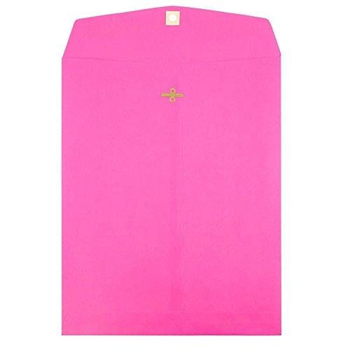 JAM PAPER Sobres de Catálogo de Extremo Abierto con Cierre de Broche - 254 x 330,2 mm - Rosa Ultra Fucsia - Paquete de 10