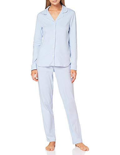 Seidensticker Damen Women Pyjama Long Pyjamaset, hellblau-Mel, 044