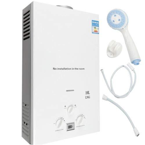 Erdgas Gas Warmwasserbereiter mit Duschset Tragbar Wandmontage Warmwasserspeicher Durchlauferhitzer Weiß 10L