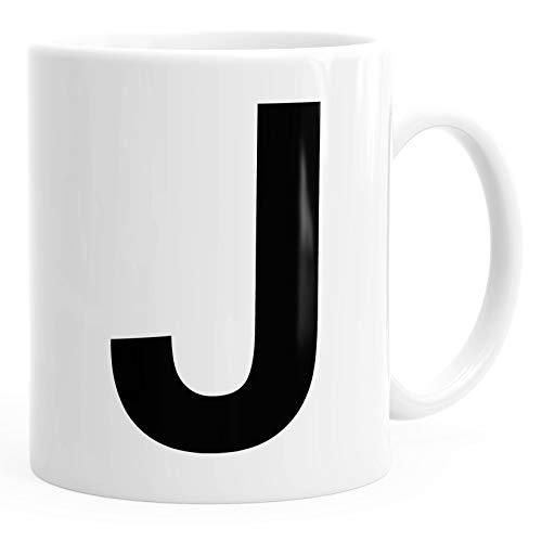 MoonWorks Kaffee-Tasse Buchstaben Buchstabe Arial Bold glänzend Kaffeetasse Teetasse Keramiktasse J weiß Unisize
