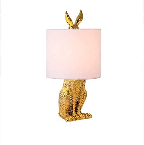 HZNZYJ Lámparas de Mesa Lámpara de Mesa Diseño Simple Dormitorio Lámpara de Noche Restaurante Estudio Enmascarado Rabbit Resina Lámpara de Escritorio de Mesa Creativa