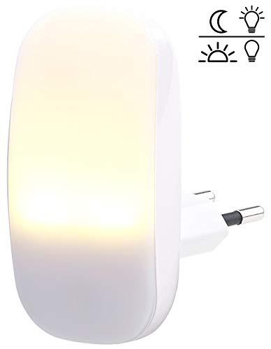 Lunartec Nachtleuchte: Kompaktes LED-Steckdosen-Nachtlicht, Dämmerungssensor, 1 lm, 0,25 Watt (Nachtlampen)