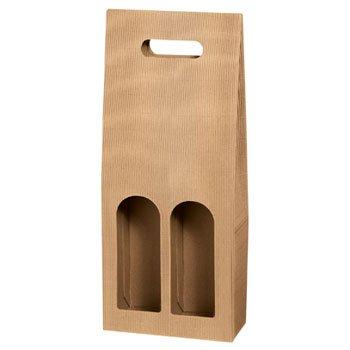 10 Stück Geschenkkarton Tragekarton Dekowell Natur für Zwei Flaschen Wein/Sekt