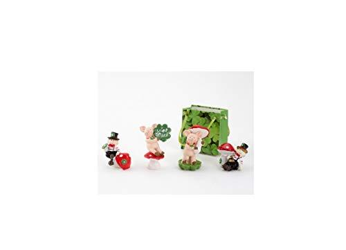 Bavaria Home Style Collection GLUECKSBRINGER 4 Fach Sortiert ideal für Silvester - Neujahr - Hochzeit - Glücksbringer - Schlüsselanhänger - ca. 3-5 cm