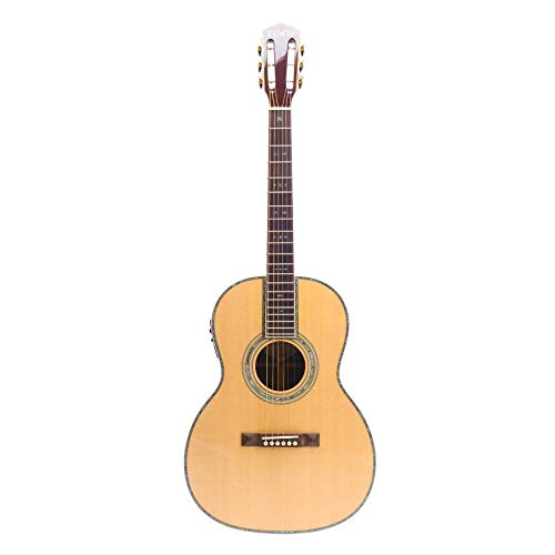 ZUWEI 39in Handmade Electric Acoustic Guitar Solid Spruce Top,Rosewood Back&side, Abalone Inlay, 45mm Nut Roseweood Fingerboard Lower Action Bone Nut& Saddle Free Hardcase Gloss Finish…