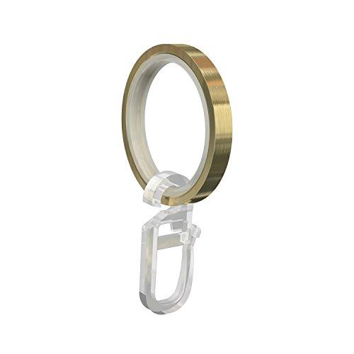 Flairdeco Gardinenringe/Ringe mit Gleiteinlage/Faltenhaken, Metall, Messing-Optik, 33/24 mm, 10 Stück