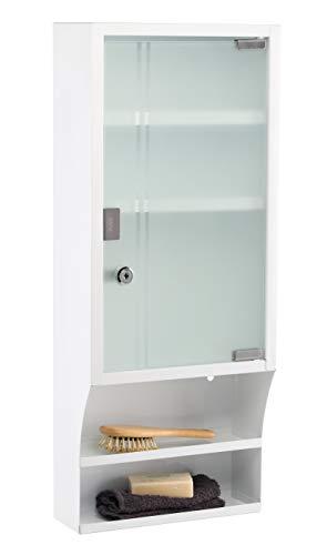 HI Hoher Medizinschrank Metall mit Glastür und Schloss in Weiß - Arzneimittel Schrank zur Medikamenten Aufbewahrung, abschließbares Schränkchen, Hängeschrank mit Glastür