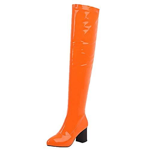 MISSUIT Damen Lack Overknee Stiefel High Heels Blockabsatz Boots Reißverschluss Chunky Heel Langschaftstiefel Winter Schuhe(Orange,39)