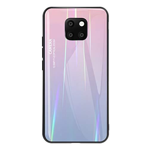 """EUDTH Cover Huawei Mate 20 PRO, Custodia Posteriore in Morbido TPU Bumper + PC & Rigido Vetro Temperato Indietro Case Colore Sfumato Backcover per Huawei Mate 20 PRO 6.39"""" -Rosa"""