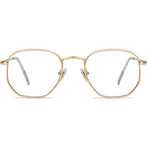 SOJOS Small Blue Light Blocking Glasses Hexagonal Eyeglasses Frame Anti Blue Ray Glasses One and Only SJ5036 with Gold Frame/Anti-Blue Light Lens
