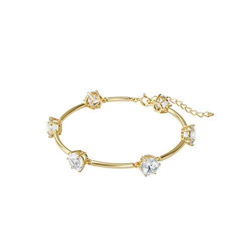 Swarovski Pulsera Constella, Blanco, Baño tono oro