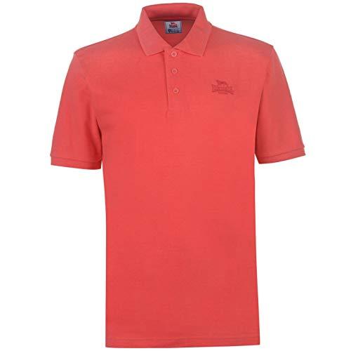 Lonsdale Herren Polohemd Klassisch Fit Einfarbig Baumwolle Poppy Rot S