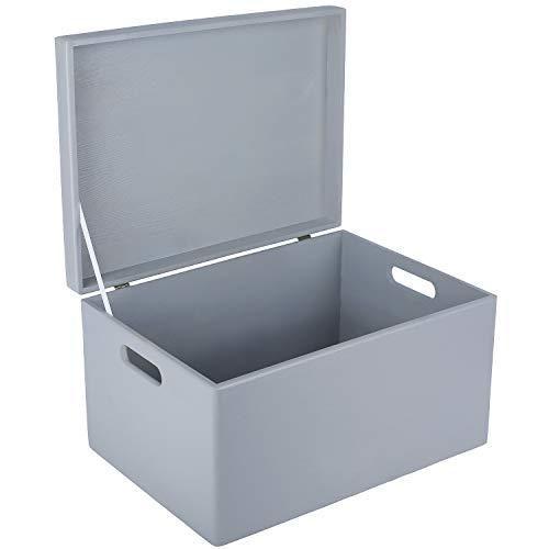 Creative Deco XXL Grau Große Holzkiste Aufbewahrungsbox Spielzeug | 40 x 30 x 24 cm (+/- 1cm) | Mit Deckel zum Dekorieren Aufbewahren | Mit Griff | Perfekt für Dokumente, Wertsachen und Werkzeuge