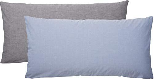 Meradiso® 2X Chambray Kissenbezug für Kissen 40 x 80 cm (Vorderseite: hellblau, Rückseite: grau, 40 x 80 cm)