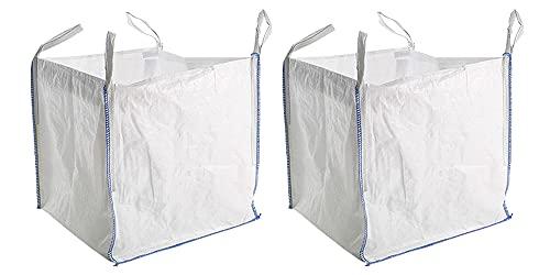 Britten & James 1 Tonne FIBC Bulk Bag Super Sack [Pack of 2] Garden Waste Dumpy Bag with Handles. Heavy Duty, High Strength Woven Polypropylene Jumbo Storage Sack
