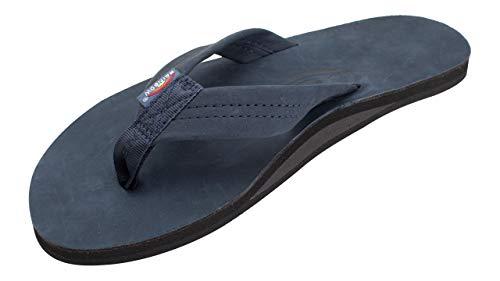 Rainbow Sandals Men's Premier Leather Single Layer Wide Strap with Arch, Navy, Men's Medium / 8.5-9.5 D(M) US