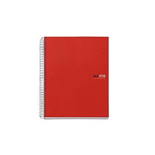 Miquelrius Basicos MR 4200, Cuaderno A4 con Tapa de Polipropileno, 200 Hojas, 5 mm, Rojo