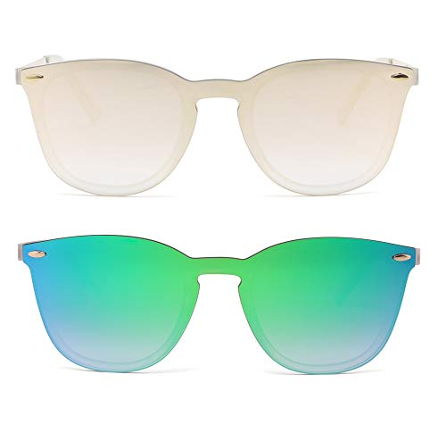 Sin Marco Montura Gafas de Sol Una Pieza Espejo Reflexivo Anteojos Para Hombre Mujer 2 Paquete(Rosa Espejo&Azul Espejo)