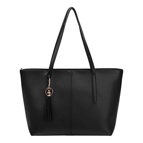 Shoulder Bags, Moregone Top Handle Bags Satchel Handbags Tote Bags Key Chain Tassel Decoration Black Size: Medium