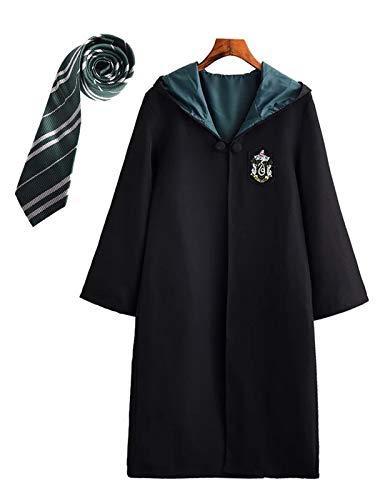 Monissy Harry Potter Kostüm Outfit Set Umhang Zauberstab Krawatte Schal Brille Hermine Granger Kostüm Schwarze Robe Fasching Karneval Kostüm Set Geburtstagsgeschenk Schuluniform