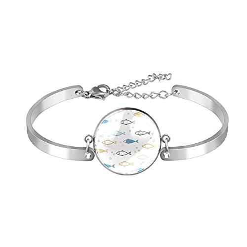Z&Q Gioielli Braccialetto Donne, Acciaio Inossidabile Lucido, Bracciali per Spose, Colore Argento Pesce Bianco