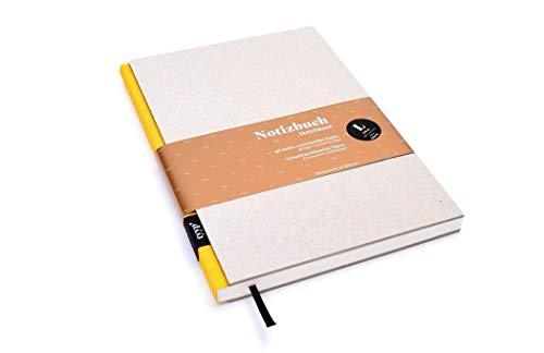 Notizbuch A5 hardcover | handmade in Germany | Skizzenbuch A5 blanko | Journal A5 | Gelb tyyp | nachhaltige Notizbücher | Öko-look Natur-Design