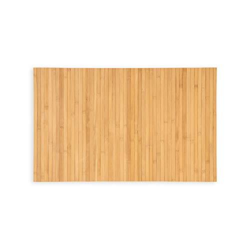 WohnDirect Nachhaltige Bambus Badematte Natur • rutschfestes Zero Waste Produkt • Badevorleger, Duschvorleger 50 x 80 cm