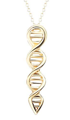 Vrouwelijke ketting - vrouw - molecuul - dna - biologie - chemie - dubbele helix - schaal - goud - kerstmis - origineel cadeau idee