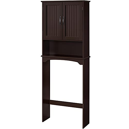 Yaheetech Over The Toilet Storage with 2 Doors & Adjustable Shelf, Free Standing Toilet Rack Wooden Space Saver Collect Cabinet, Bathroom Furniture, L24.5xW9xH66 Inches, Espresso